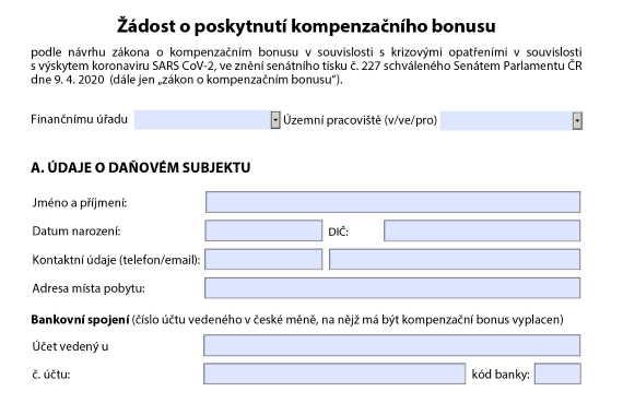Ministerstvo financí zveřejnilo formulář, jehož prostřednictvím je možné podat žádost o podporu 25000 Kč pro OSVČ během epidemie.